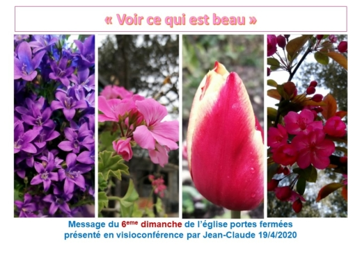 """6eme dimanche portes fermées : """"Voir ce qui est beau"""", message présenté par Jean-Claude (19/4/2020)"""