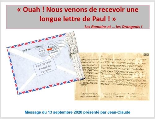 Message du 13/9/2020 – L'épitre aux Romains en partant de la fin !